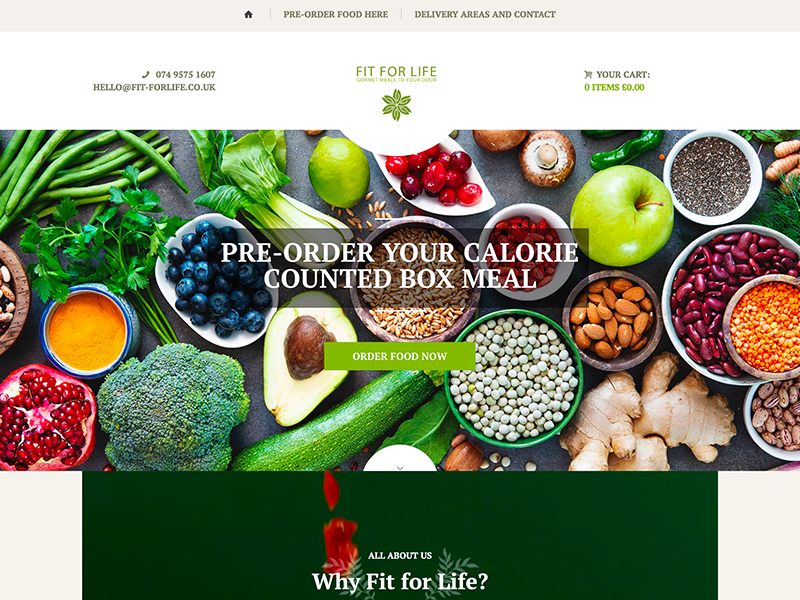 webvidelondon-web-video-london-fit for life catering company homepage
